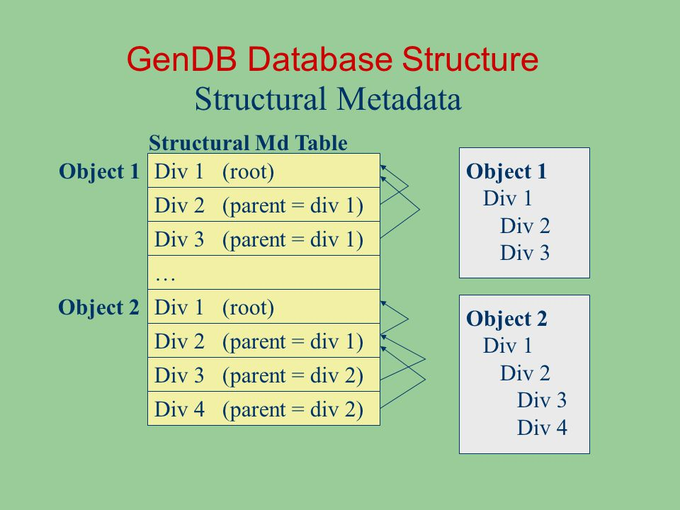 Div 1 GenDB Database Structure Structural Metadata Div 2 Div 3 Object 1 Object 2 (root) (parent = div 1) Div 1 Div 2 Div 3 (root) (parent = div 2) (parent = div 1) Div 4 (parent = div 2) Object 1 Div 1 Div 2 Div 3 Object 2 Div 1 Div 2 Div 3 Div 4 … Structural Md Table