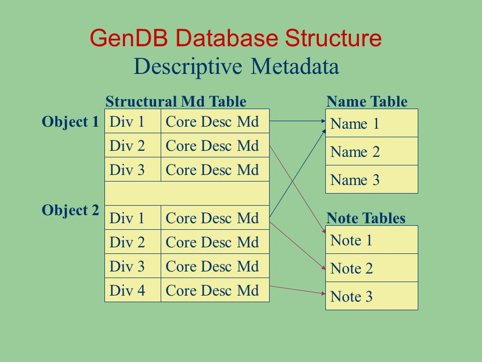 Div 1 GenDB Database Structure Descriptive Metadata Div 2 Div 3 Object 1 Object 2 Div 1 Div 2 Div 3 Div 4 Core Desc Md Name 1 Name 2 Name 3 Note 1 Note 2 Note 3 Name Table Note Tables Structural Md Table