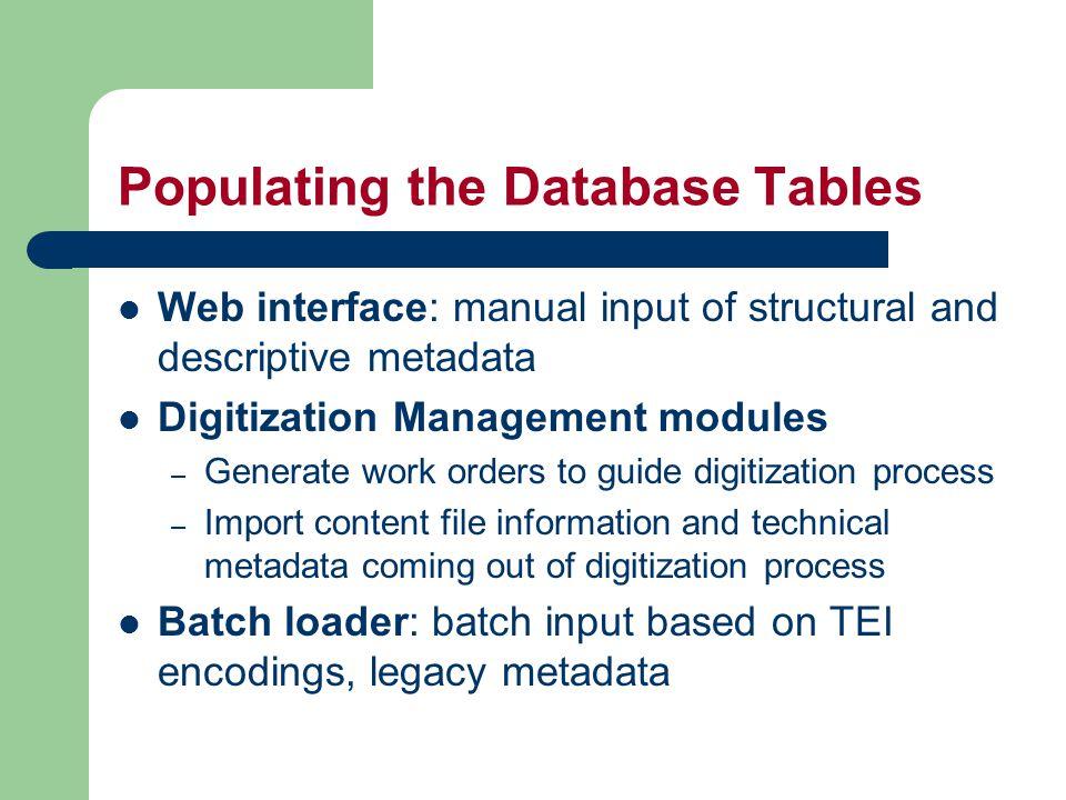 Web Interface: WebGenDB Web Interfac e SQL Server Database Java Servlet Java Server XML Config Files rmi jdbc