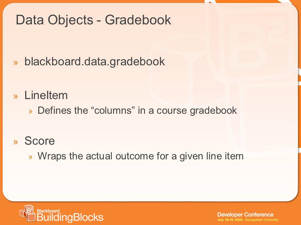 "Data Objects - Gradebook » blackboard.data.gradebook » LineItem » Defines the ""columns"" in a course gradebook » Score » Wraps the actual outcome for a"