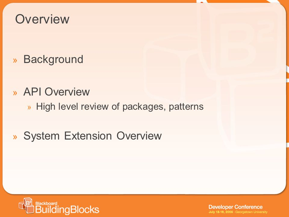 Overview » Background » API Overview » High level review of packages, patterns » System Extension Overview