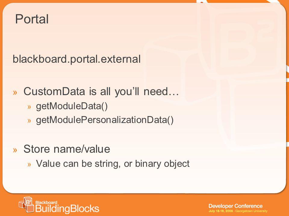 Portal blackboard.portal.external » CustomData is all you'll need… » getModuleData() » getModulePersonalizationData() » Store name/value » Value can b