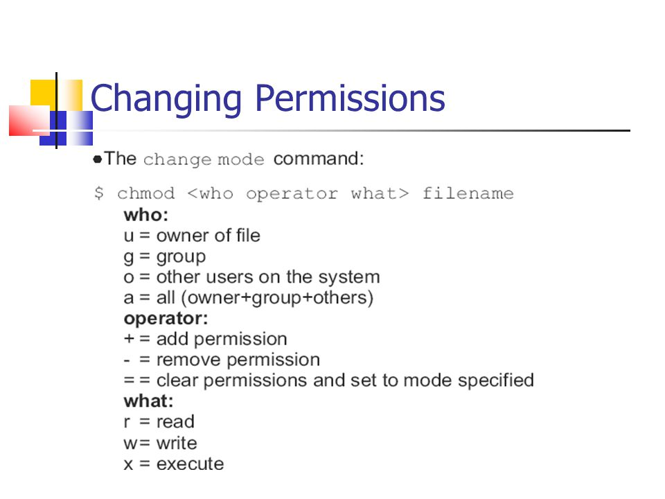Changing Permissions