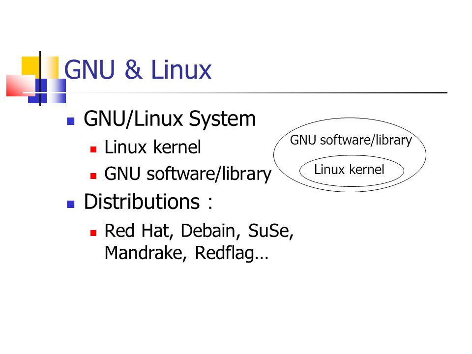 GNU & Linux GNU/Linux System Linux kernel GNU software/library Distributions : Red Hat, Debain, SuSe, Mandrake, Redflag… GNU software/library Linux kernel