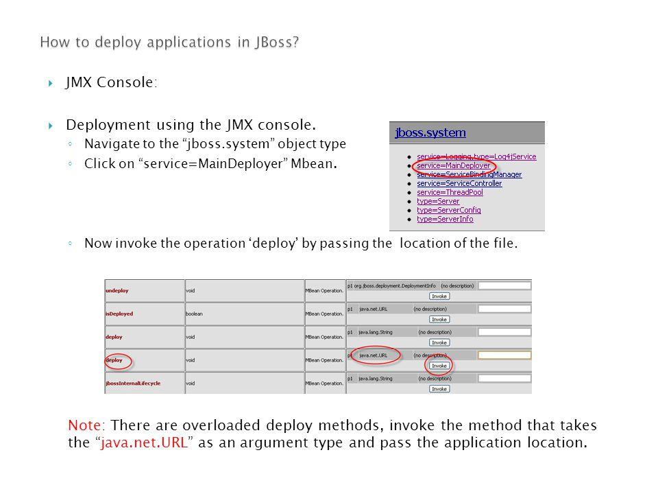  JMX Console:  Deployment using the JMX console.