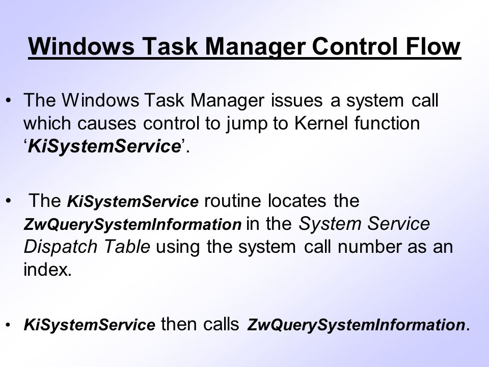 Windows Task Manager Control Flow The Windows Task Manager issues a system call which causes control to jump to Kernel function 'KiSystemService'.