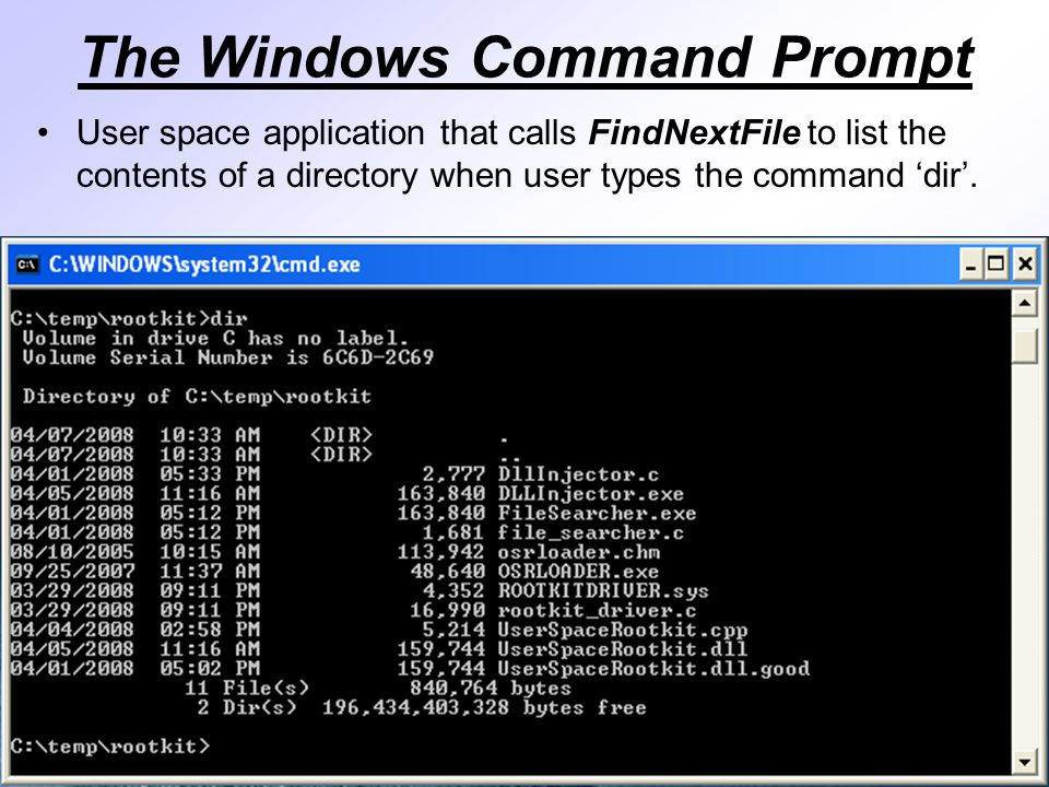 The Windows Command Prompt User space application that calls FindNextFile to list the contents of a directory when user types the command 'dir'.