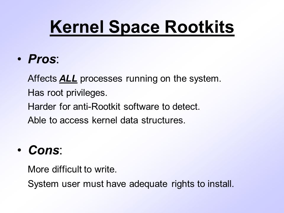 Rootkit Implementation Phase The Rootkit implementation phase of the project consisted of the creation of two Rootkits: 1.) A kernel space Rootkit that hides system process information by installing a hook function in the kernel's System Service Dispatch Table in place of the kernel's ZwQuerySystemInformation function.