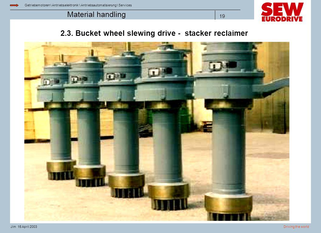 Getriebemotoren \ Antriebselektronik \ Antriebsautomatisierung \ Services Driving the worldJim 15 April 2003 Material handling 19 2.3. Bucket wheel sl