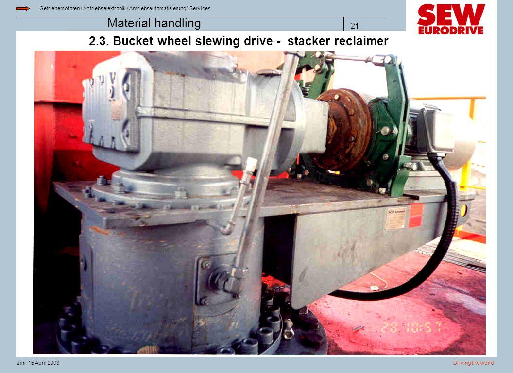 Getriebemotoren \ Antriebselektronik \ Antriebsautomatisierung \ Services Driving the worldJim 15 April 2003 Material handling 21 2.3. Bucket wheel sl