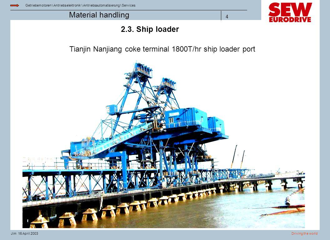 Getriebemotoren \ Antriebselektronik \ Antriebsautomatisierung \ Services Driving the worldJim 15 April 2003 Material handling 4 2.3. Ship loader Tian