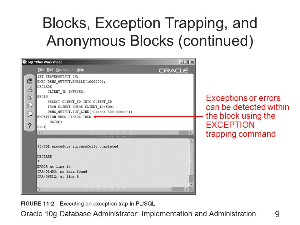 Oracle 10g Database Administrator: Implementation and Administration 9 Blocks, Exception Trapping, and Anonymous Blocks (continued) Exceptions or errors can be detected within the block using the EXCEPTION trapping command