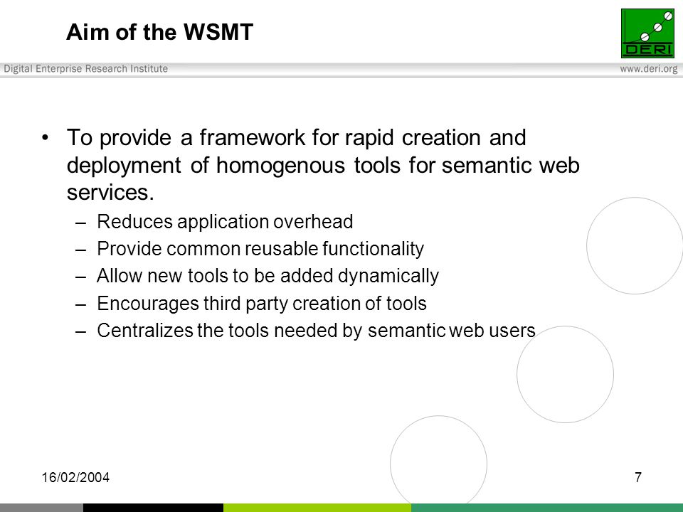 16/02/20047 Aim of the WSMT To provide a framework for rapid creation and deployment of homogenous tools for semantic web services.