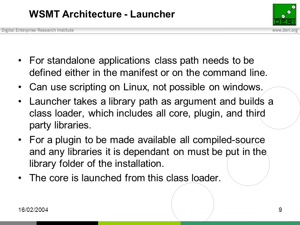 16/02/20049 WSMT Architecture - Launcher For standalone applications class path needs to be defined either in the manifest or on the command line.