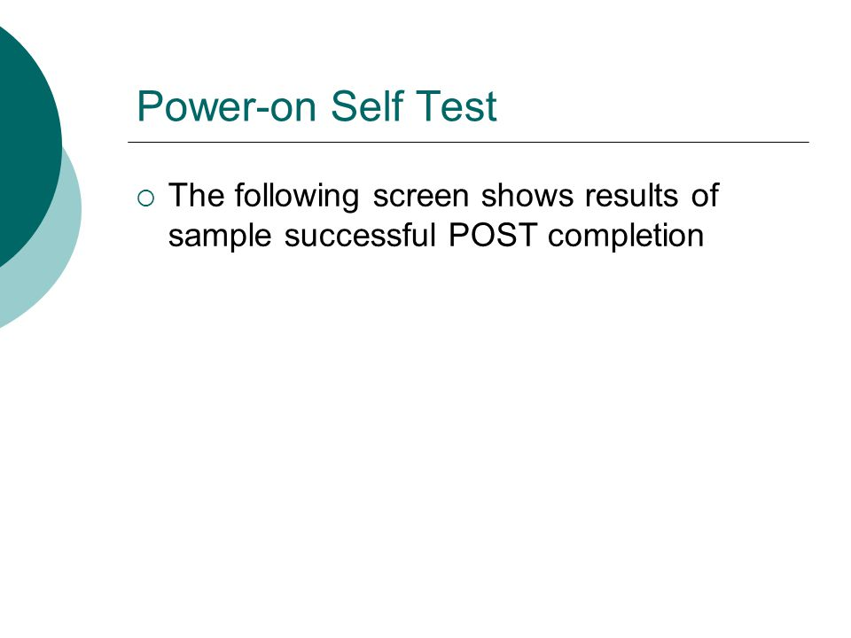 Power-on Self Test