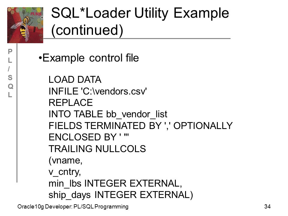 PL/SQLPL/SQL Oracle10g Developer: PL/SQL Programming34 SQL*Loader Utility Example (continued) LOAD DATA INFILE C:\vendors.csv REPLACE INTO TABLE bb_vendor_list FIELDS TERMINATED BY , OPTIONALLY ENCLOSED BY TRAILING NULLCOLS (vname, v_cntry, min_lbs INTEGER EXTERNAL, ship_days INTEGER EXTERNAL) Example control file