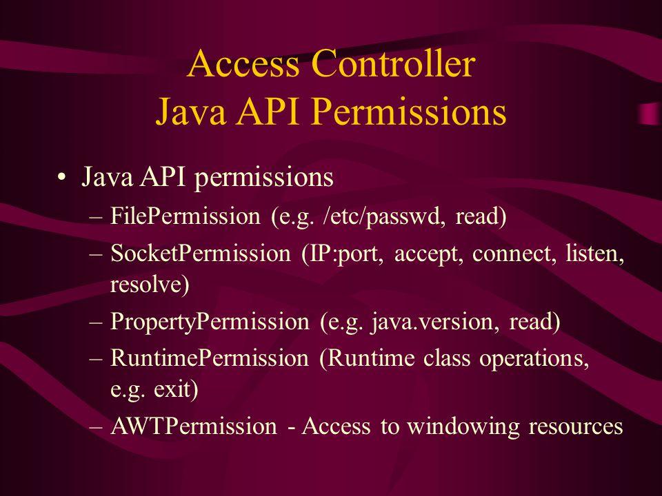 Access Controller Java API Permissions Java API permissions –FilePermission (e.g.