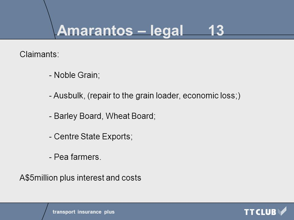 transport insurance plus Amarantos – legal 13 Claimants: - Noble Grain; - Ausbulk, (repair to the grain loader, economic loss;) - Barley Board, Wheat Board; - Centre State Exports; - Pea farmers.