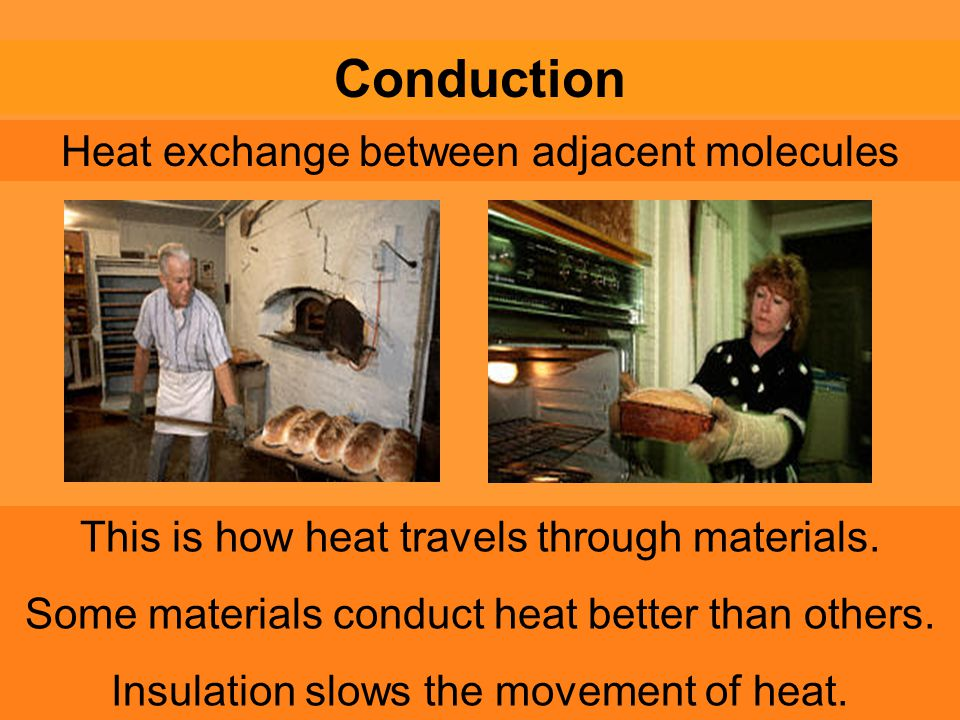 Heat exchange between adjacent molecules Conduction This is how heat travels through materials.