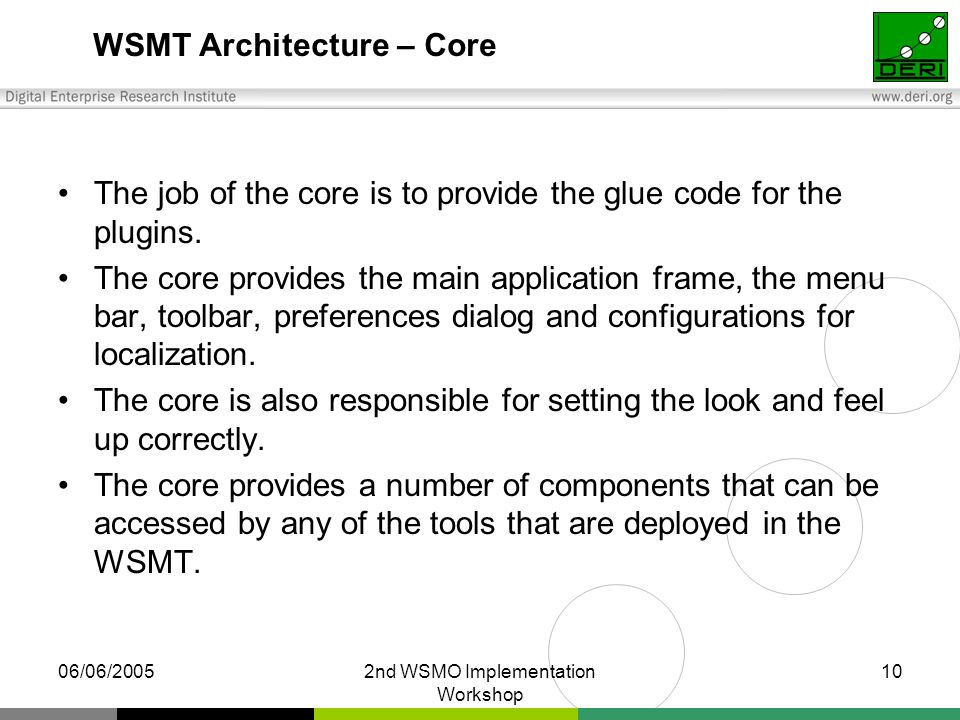 06/06/20052nd WSMO Implementation Workshop 10 WSMT Architecture – Core The job of the core is to provide the glue code for the plugins. The core provi