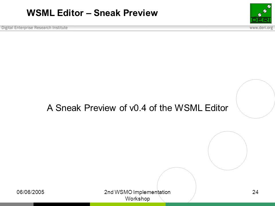 06/06/20052nd WSMO Implementation Workshop 24 WSML Editor – Sneak Preview A Sneak Preview of v0.4 of the WSML Editor