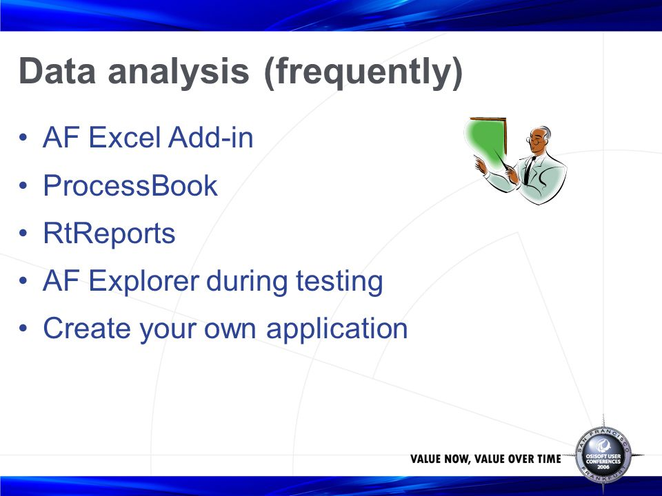 Data analysis (frequently) AF Excel Add-in ProcessBook RtReports AF Explorer during testing Create your own application