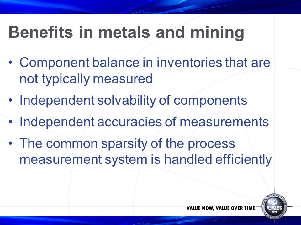 Benefits in metals and mining Component balance in inventories that are not typically measured Independent solvability of components Independent accur