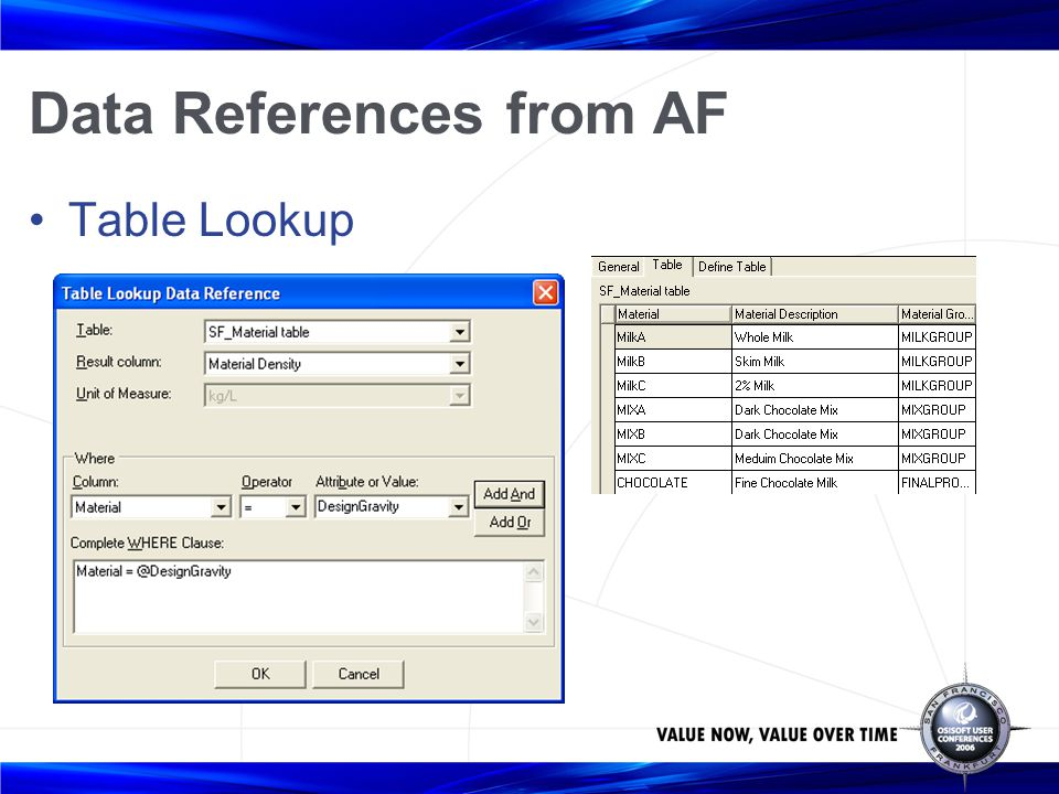 Data References from AF Table Lookup