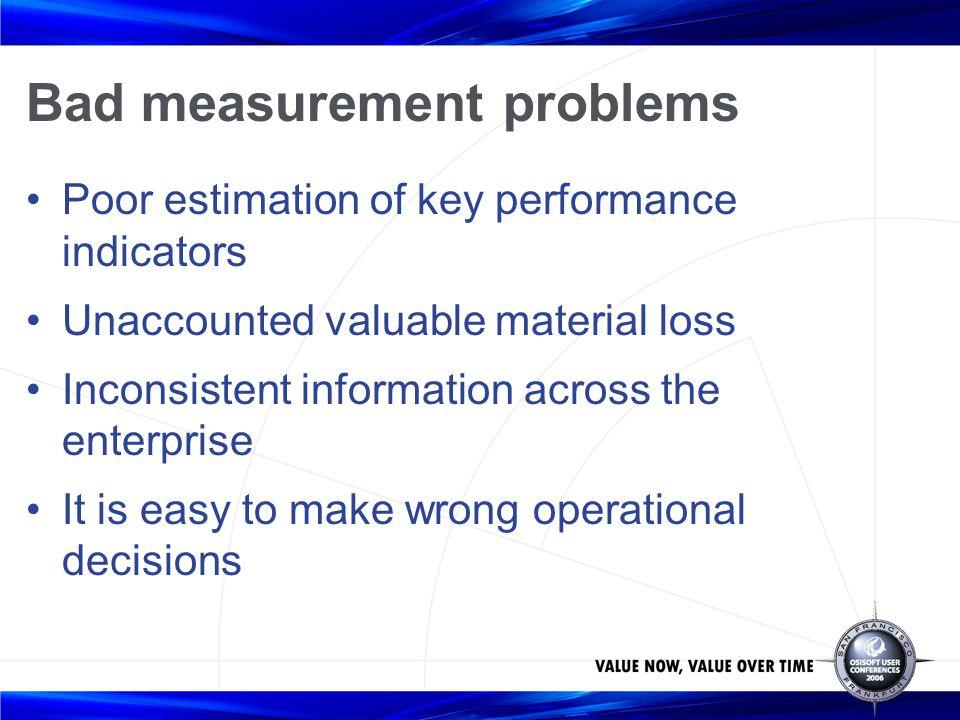 Bad measurement problems Poor estimation of key performance indicators Unaccounted valuable material loss Inconsistent information across the enterpri