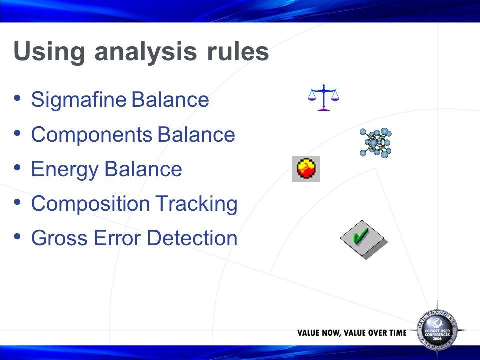 Using analysis rules Sigmafine Balance Components Balance Energy Balance Composition Tracking Gross Error Detection