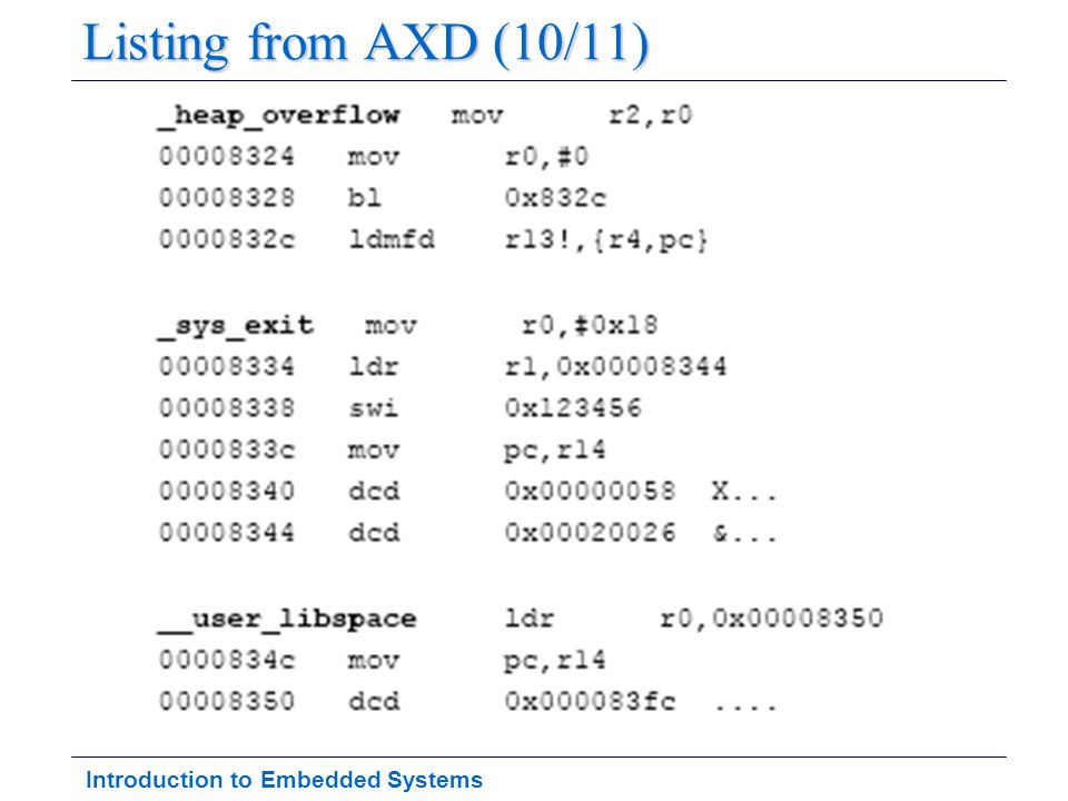 Introduction to Embedded Systems Listing from AXD (10/11)