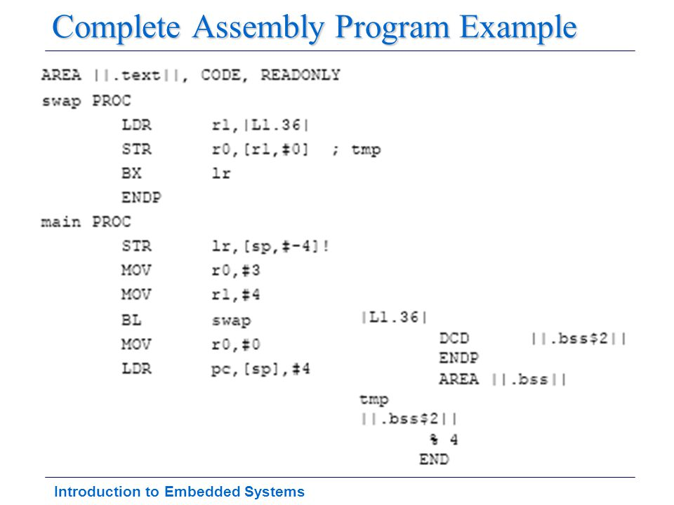 Introduction to Embedded Systems Complete Assembly Program Example