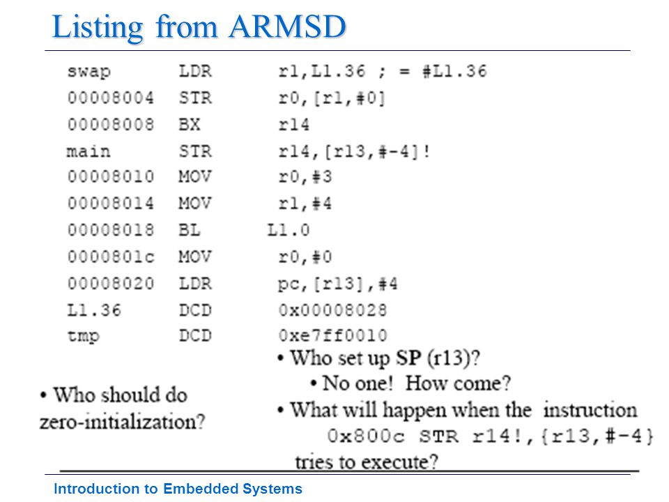 Introduction to Embedded Systems Listing from ARMSD