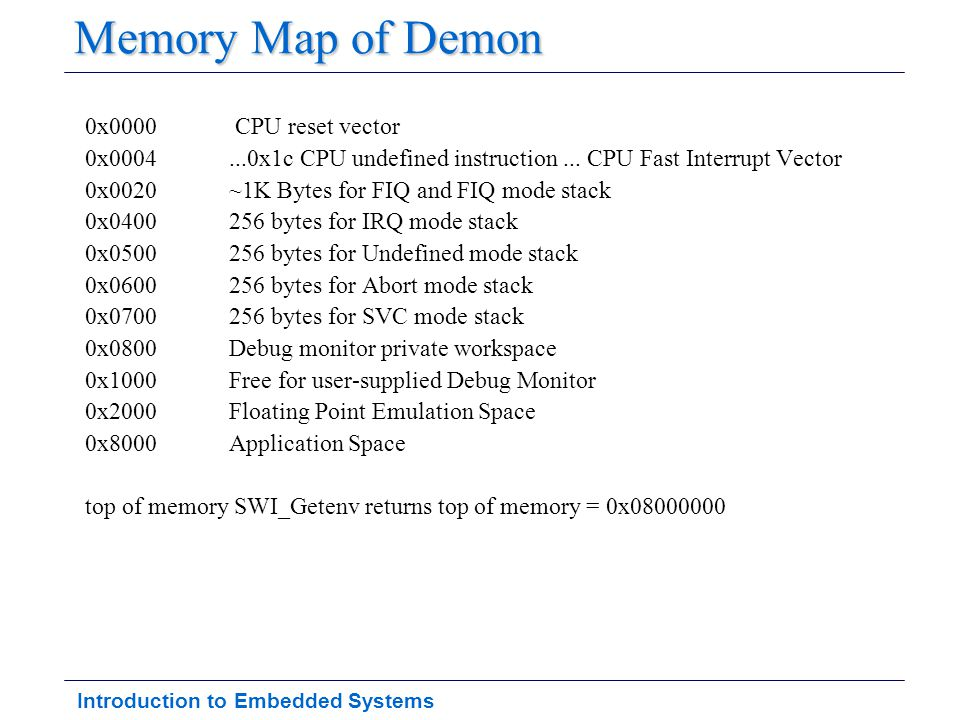 Introduction to Embedded Systems Monitor Program Provide Capability to –Setup Hardware on startup –Load and run programs –Debug code –Minimal OS functionality Many embedded systems are just –Monitor + application –Monitor still handles other types of interrupts (we ll cover this later) –l timer, I/O (e.g., keypad, switches, LED, LCD)