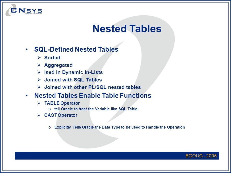 BGOUG - 2005 Nested Tables SQL-Defined Nested Tables  Sorted  Aggregated  Ised in Dynamic In-Lists  Joined with SQL Tables  Joined with other PL/SQL nested tables Nested Tables Enable Table Functions  TABLE Operator otell Oracle to treat the Variable like SQL Table  CAST Operator oExplicitly Tells Oracle the Data Type to be used to Handle the Operation -