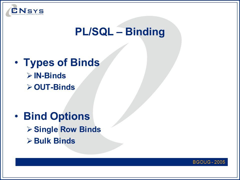 PL/SQL – Binding Types of Binds  IN-Binds  OUT-Binds Bind Options  Single Row Binds  Bulk Binds BGOUG - 2005