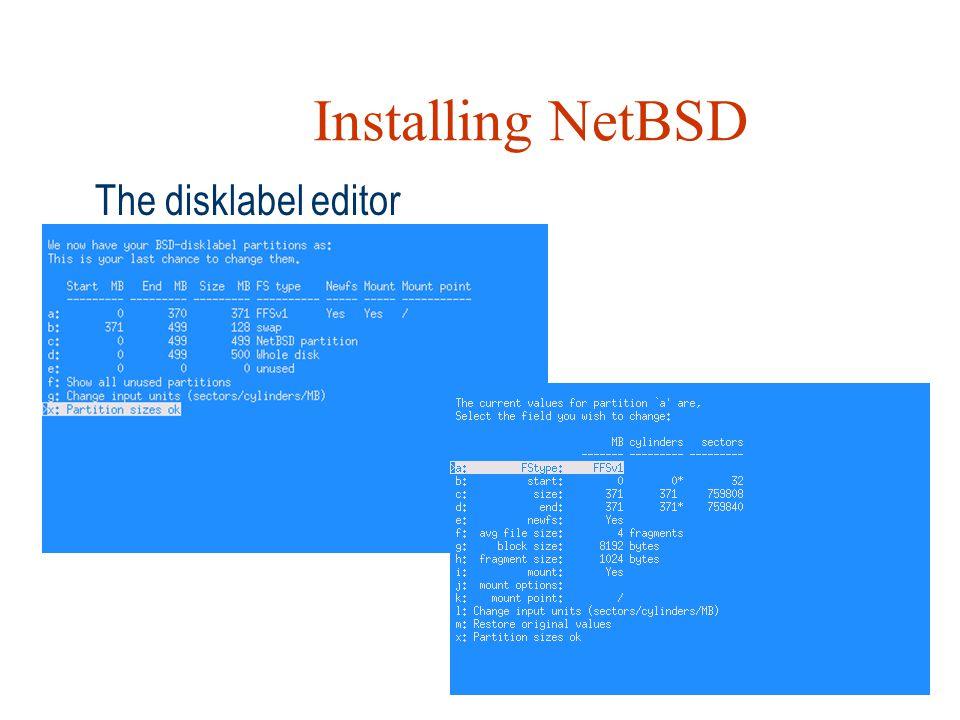 Installing NetBSD The disklabel editor