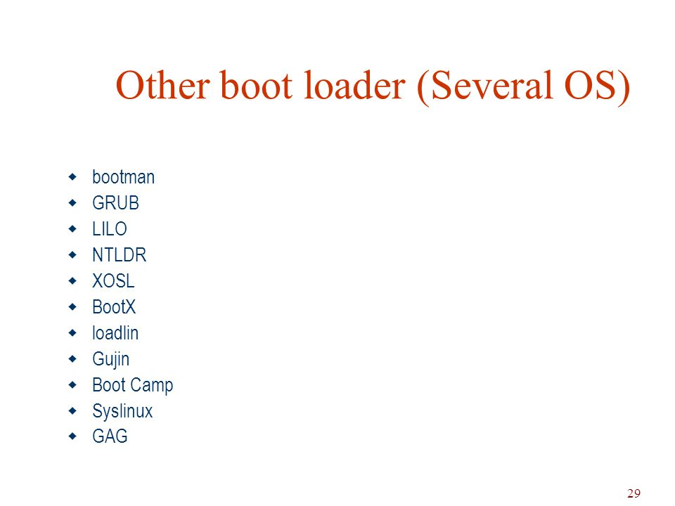 29 Other boot loader (Several OS)  bootman  GRUB  LILO  NTLDR  XOSL  BootX  loadlin  Gujin  Boot Camp  Syslinux  GAG