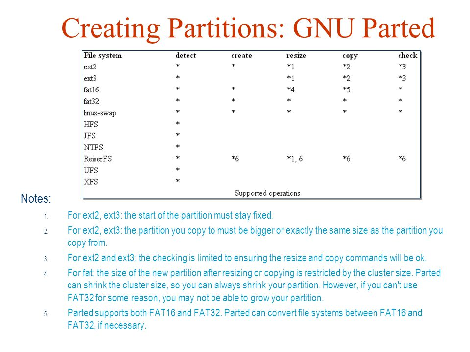 Creating Partitions: GNU Parted Notes: 1. For ext2, ext3: the start of the partition must stay fixed. 2. For ext2, ext3: the partition you copy to mus