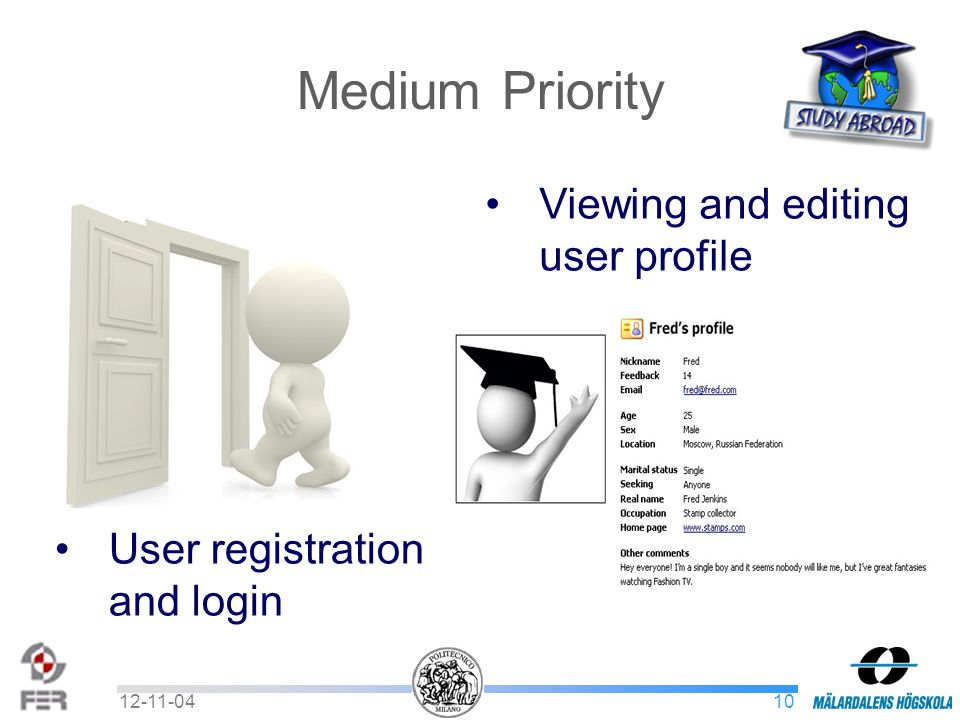 1012-11-04 Medium Priority User registration and login Viewing and editing user profile