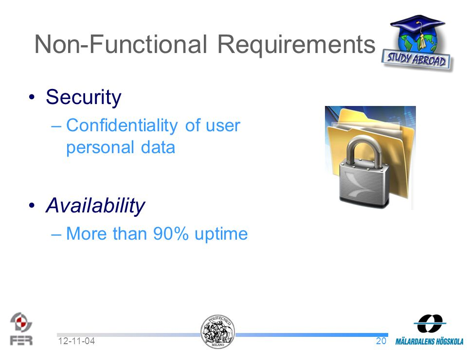 2012-11-04 Non-Functional Requirements Security –Confidentiality of user personal data Availability –More than 90% uptime