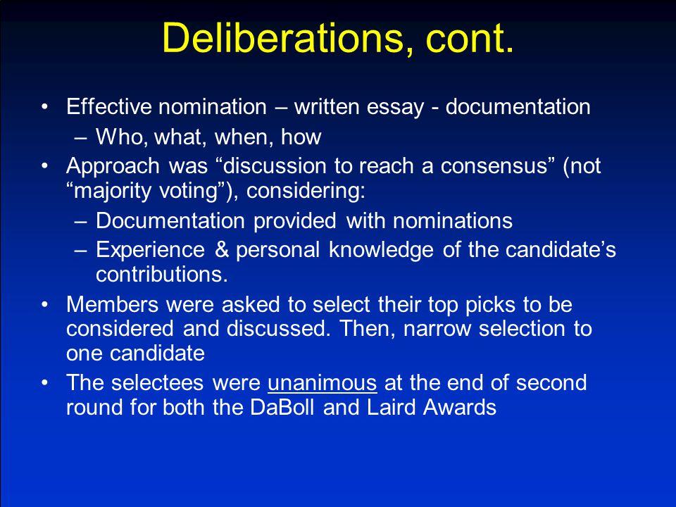 Deliberations, cont.