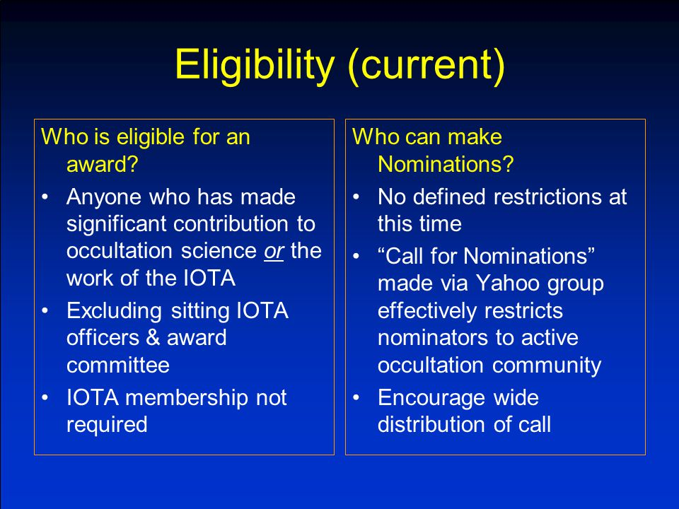 Eligibility (current) Who is eligible for an award.