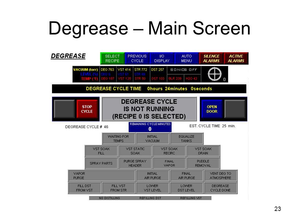 Degrease – Main Screen 23