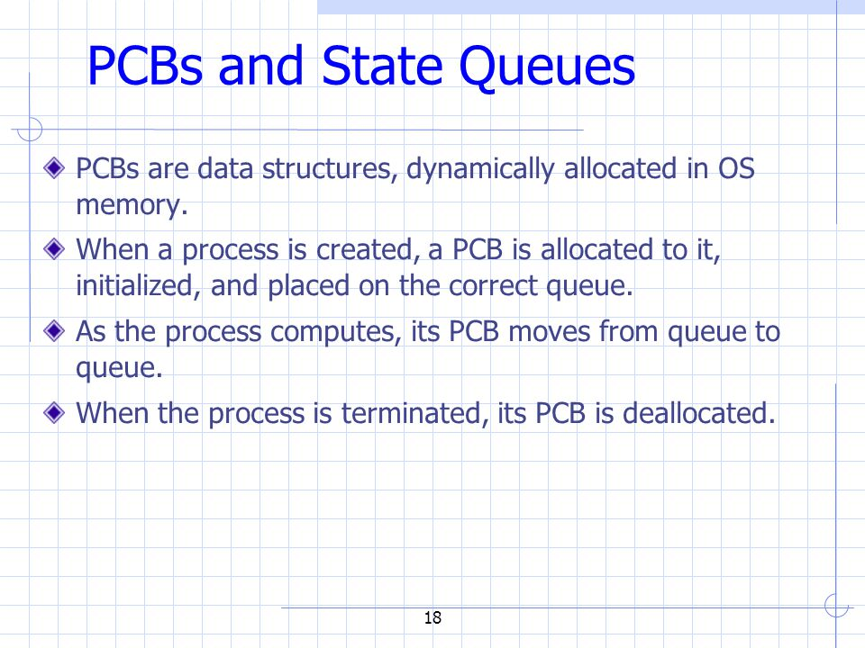 18 PCBs and State Queues PCBs are data structures, dynamically allocated in OS memory.