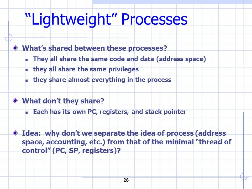 26 Lightweight Processes What's shared between these processes.