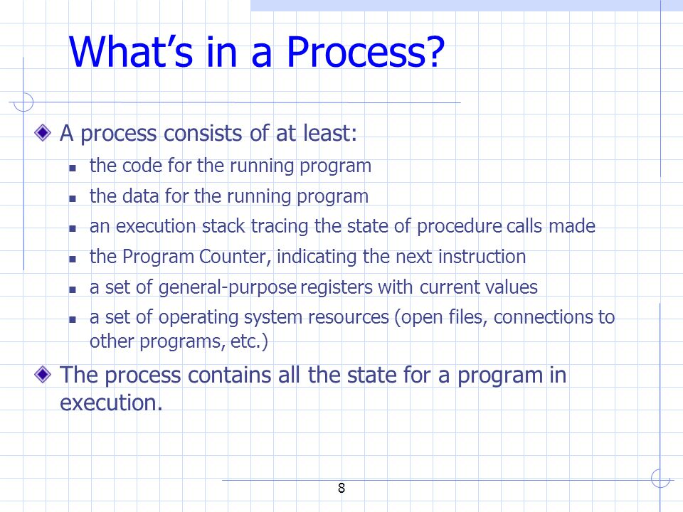 Processes Under UNIX Fork() system call to create a new process int fork() does many things at once: creates a new address space (called the child) copies the parent's address space into the child's starts a new thread of control in the child's address space parent and child are equivalent -- almost  in parent, fork() returns a non-zero integer  in child, fork() returns a zero.