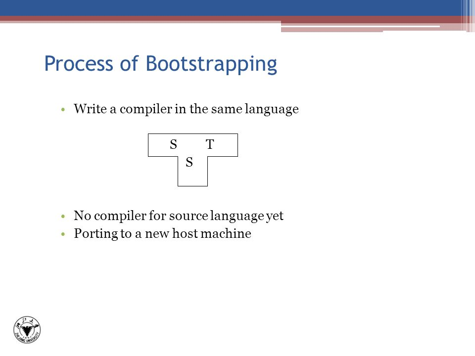 Process of Bootstrapping Write a compiler in the same language S T S No compiler for source language yet Porting to a new host machine