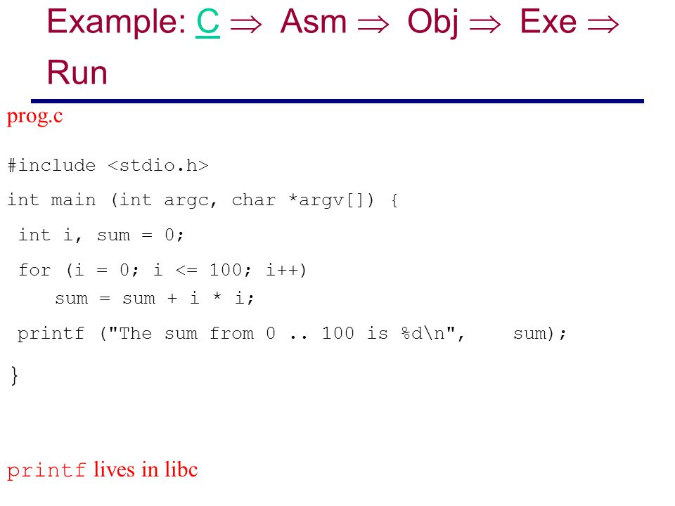 Example: C  Asm  Obj  Exe  Run #include int main (int argc, char *argv[]) { int i, sum = 0; for (i = 0; i <= 100; i++) sum = sum + i * i; pr