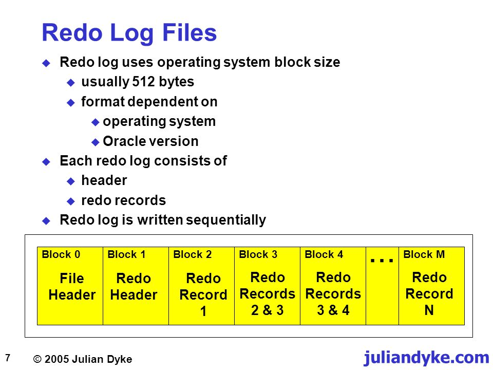 © 2005 Julian Dyke juliandyke.com 48 FORCE NOLOGGING  Objects created using NOLOGGING cannot be recovered  Backup should be taken immediately affect using NOLOGGING  In Oracle 9.2 and above NOLOGGING can be disabled using STARTUP MOUNT ALTER DATABASE FORCE LOGGING;  or ALTER TABLESPACE FORCE LOGGING;